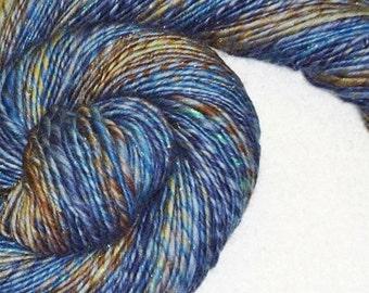 Indigo's Blues Handspun Yarn - 178 yards - Single Ply - Knit - Crochet - Weave - Mixed Media - Fiber Art - Textile Arts - Lana