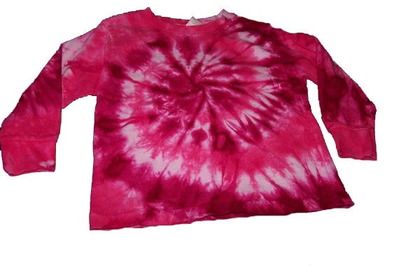 Tie Dyed, Hot Pink and Fuchsia Spiral, Long Sleeve Adult T Shirt