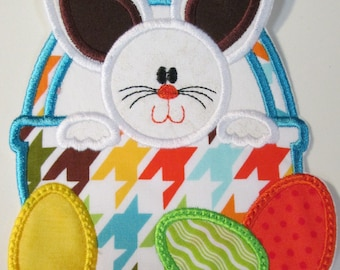 Easter Iron On Bunny with Easter Egg Basket - Iron On or Sew On Embroidered Applique