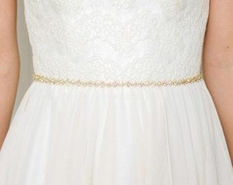 Gold Thin Bridal Belt | Gold Bridal Sash | Skinny Wedding Dress Sash | Crystal Sash | Rhinestone Belt [Cleo Belt]