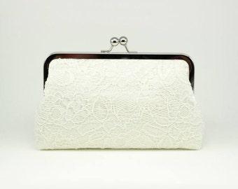 Ivory Lace Clutch | Bridal Purse | Wedding Clutch | Bridal Clutch | Bridal Shower Gift | Monogram Clutch [Antoinette Clutch: Ivory on Ivory]