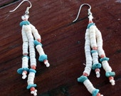 Native American Beaded Shell and Turquoise Earrings from the 1970s For Her