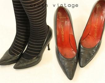 50s Shoes Lizard Pumps 6  / 1950s Vintage Shoes Customcraft Stilettos /  Moonlight Mood Pumps