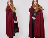 Vintage 70s Burgundy SPANISH Cape Draped Wool CASA SESENA Clasica Style Cape with Huge Cape Collar