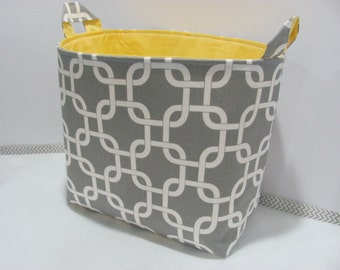 XL EXTRA LARGE Fabric Organizer Basket Storage Container Bag Bucket Toy Bin - Home Decor - Nursery - Kids Room - White/Grey Geometric Canvas