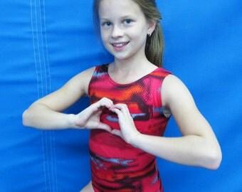 Gymnastics Girls Leotard Child sz 2 4 6 8 10 12 14 black gray red geometric design - NEW Youth tank leo