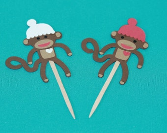 Sock Monkey Cupcake Toppers 24pk
