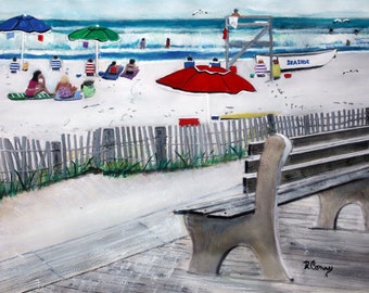 Seaside from a Park Bench-original painting-SIGNED PRINTS 8 X10-15.00,11x14- 25.00, 13 X 19- 35.00. Message me and I will list them for you.