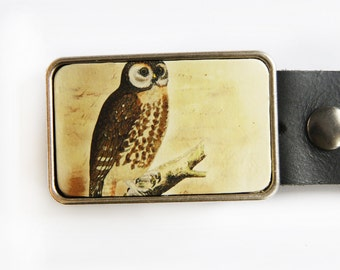 Vintage Owl Illustration Belt Buckle
