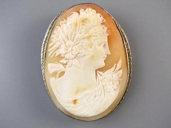 Vintage Art Deco LARGE 14K white gold cameo brooch pin pendant necklace