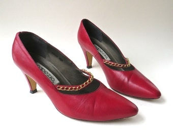 80s vintage Capezio Fire Engine Red Leather Pumps with Gold Chain Cross Straps