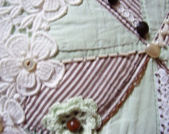 Chocolate Mint Crazy Quilt Pillow