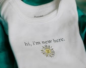 Hi, I'm New Here w/Sun Baby Bodysuit (sizes newborn to 24 months)