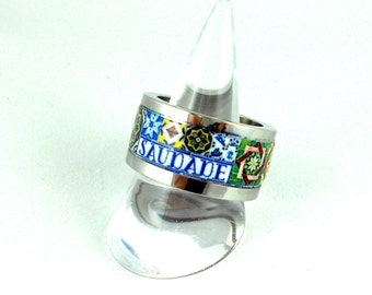 Portugal Antique Azulejo Tile Replica Ring SaUDADE Stainless Steel US size 9  UK size S, 19mm