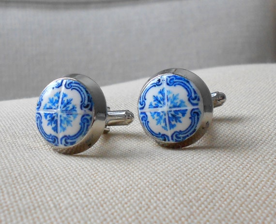 Portugal Blue Antique Azulejo Tile Replica CUFF LINKS - PORTO (see actual Facade photos)