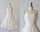 1950s Wedding Dress / Strapless Wedding Dress / Tea Length / Full Skirt / Luminary