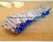 The Original Fully Reversible Bridal Garter..You Choose The Colors..shown in silver gray/royal blue