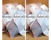 Romantic Satin Elite Ring Bearer Pillow...You Choose the Colors...SET OF 2...shown in silver gray/white