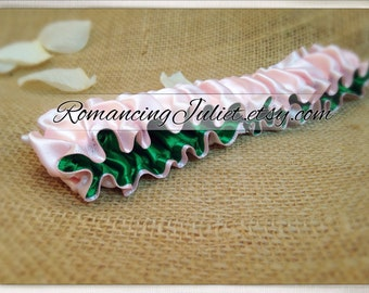 The Original Fully Reversible Bridal Garter..You Choose The Colors..shown in light pink/emerald green