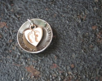 FOREVER My Angel REMEMBRANCE Hand Stamped Oxidized Sterling Silver Disc Gold Vermeil Baby Feet in Heart Charm