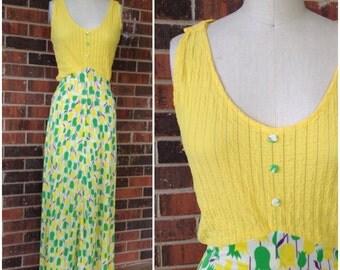1960's Yellow Floral Maxi Dress
