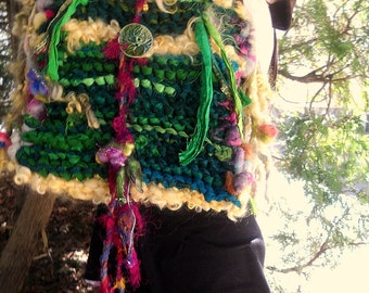 shoulder bag rustic wool handknit boho forest tote fiber art bag - enchanted lands bag