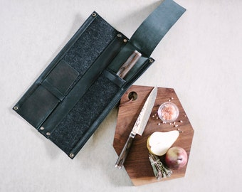 Leather Knife Case // 4 knife kit by fullgive in black essex
