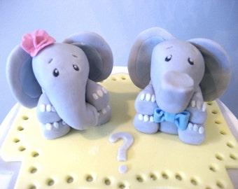 ELEPHANT Cake Topper, Baby Elephant Boy Girl Cake Toppers, Gender Reveal Cake Topper, Baby Elephant Baby Shower Cake, Girl Boy Twin Baby