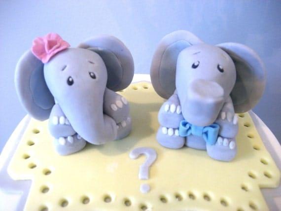 Elephant Cake Topper Baby Elephant Boy Girl Cake Toppers Gender
