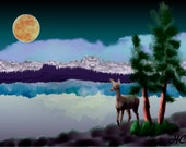 Painting ACEO Deer, Moon, Lake, Original Graphic Design Art Card