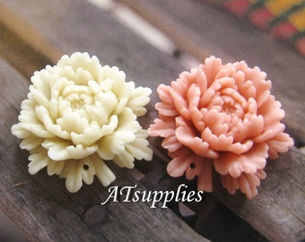 36mm - ASSORTED Beautiful Peony flower Cabochon - 2 pcs (CA834-Ass)