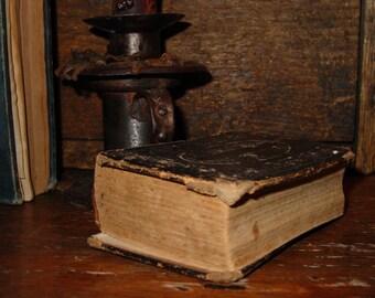1865 Antique Leather Book, Collection Of Hymns, Methodist Episcopal Church, Little Fat Primitive Book, Primitive Decor Early Homestead Decor