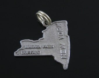 Vintage Sterling Silver New York State Cut Out Charm