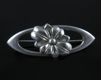 Vintage Sterling Silver Flower Brooch
