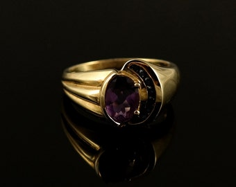 Ring, Size 8, 10K Gold, Amethyst, Channeled, Blue Sapphire Stones, Multi Stone, Yellow Gold