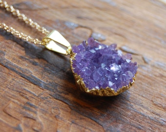 Gold Plated Amethyst Druzy Stone Cluster Necklace. Druzy Geode Necklace