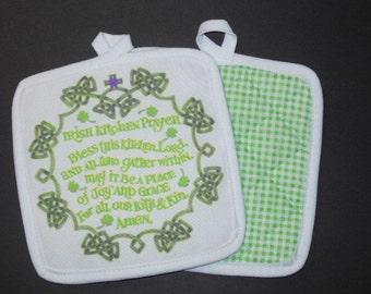 "IRISH KITCHEN BLESSING Potholder - 6.5""x6.5"""