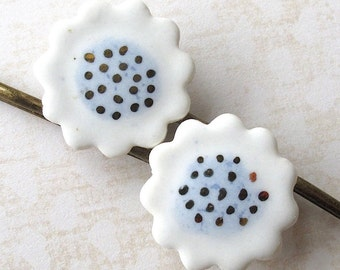 Daisy Hair Pins. Ceramic. Porcelain. Light Blue & White. 22K Gold Decoration. Sky Blue. Powder Blue. Polka Dots. Flowers. Set of Two Bobbies