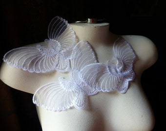 3 Butterfly Appliques in White Organza for Bridal, Garments, Costume Design  BF 103