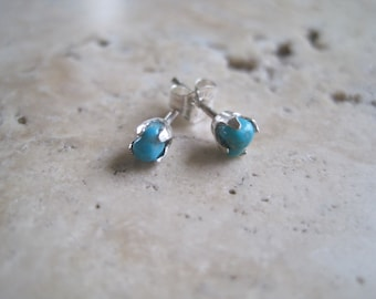 American Turquoise and Sterling Silver Stud Earrings