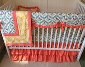 Honeybee Crib Bedding Set Blue Yellow and Coral Bumperless Complete Set