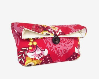 Red Clutch Purse, Red Makeup Bag, Red Bridesmaid Gift, Wedding Accessory, Bright Colorful Yellow Pink Red Floral White Red Purse