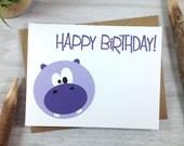 Birthday Card, Happy Birthday Greeting Card, Children's Birthday Card, Wild Animal Card, Hippo Card - Single