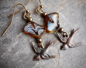 Fly Sparrow Dangle Earrings, Dark Brown Antiqued Brass dangling sparrows, great gift under 20,