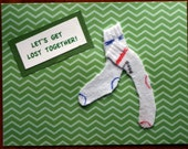 Sock card, valentine, lets get lost, humorous, laundry, fabric, three dimensional, love, green, white socks
