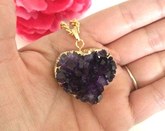 heart amethyst druzy pendant - layering necklace - druzy necklace - bohemian necklace - druzy heart charm