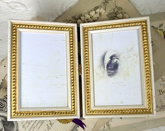 Two Hinged 4x6 White and Gold Frames Antique Shabby Look