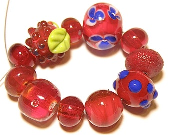 DESTASH -- 11 Lampwork Orphan Beads in a Palette of Cranberry and Cobalt Blue -- Lot P
