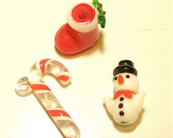 DESTASH - Three (3) Handmade Lampwork Glass Christmas Winter Beads and Charm-- Snowman, Boot, Candy Cane -- Lot HH