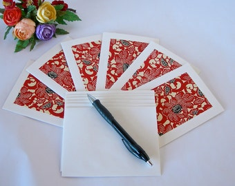 Japanese paper - six blank note cards - all one pattern- red and black peony chiyogami-six ivory envelopes - Ready to ship